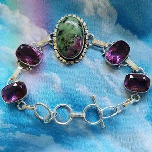 Mystic Genuine Ruby Zoistite Silver Bracelet
